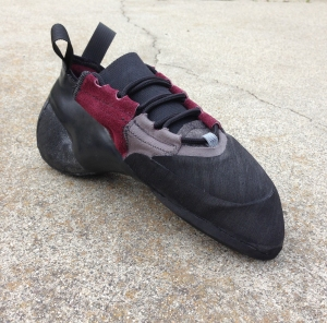 Completed hybrid bouldering shoe prototype.