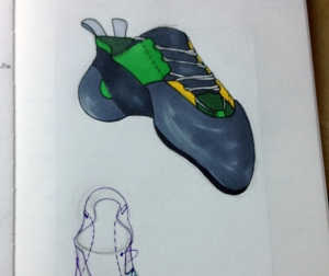 Concept sketch for a bouldering shoe.